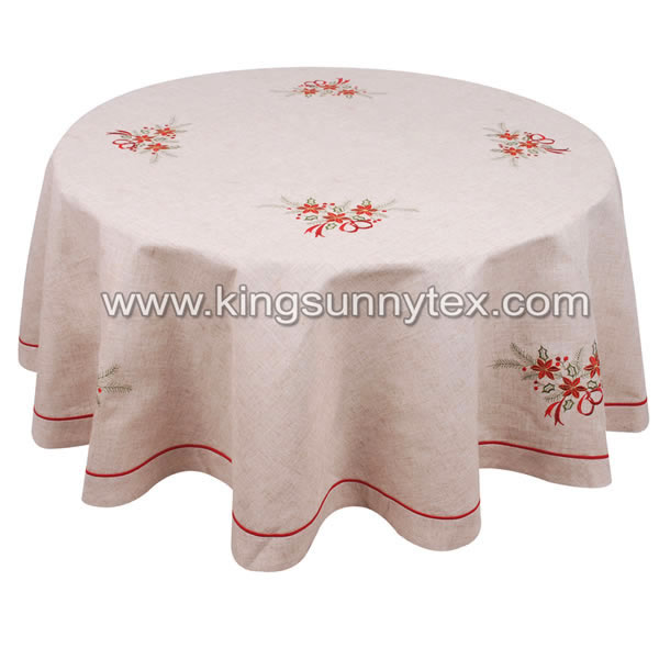 Round Embroidered Christmas Tablecloth Featured Image