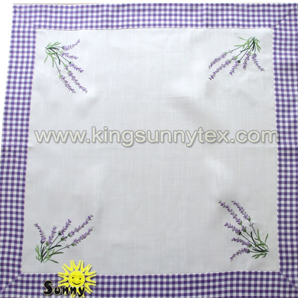 Embroidery Purple Table Cloth