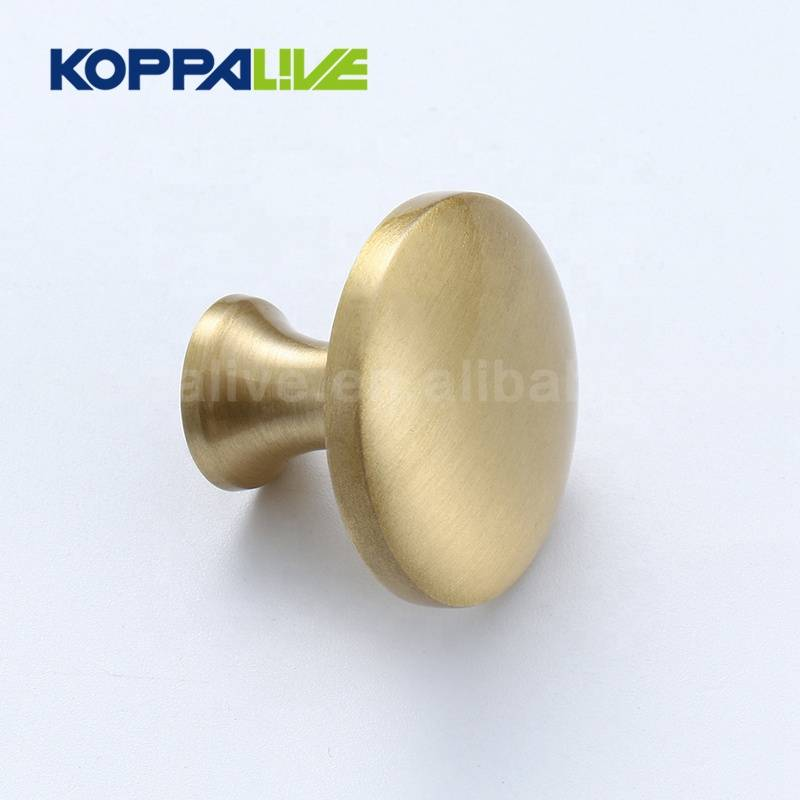 Factory price simple style round single hole furniture hardware brass pull knob