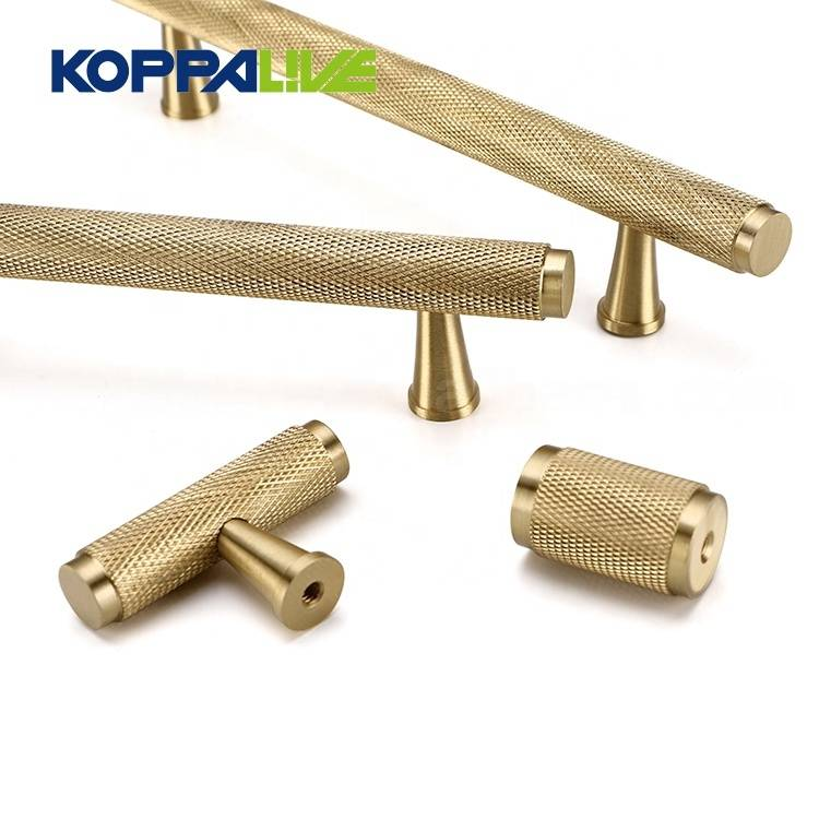 New Arrival China Furniture Barn Door Hardware - KOPPALIVE Copper T Bar Cupboard Straight Pull Handle Knobs Solid Brass Knurled Cabinet Door Handles – Zhangshiwujin detail pictures