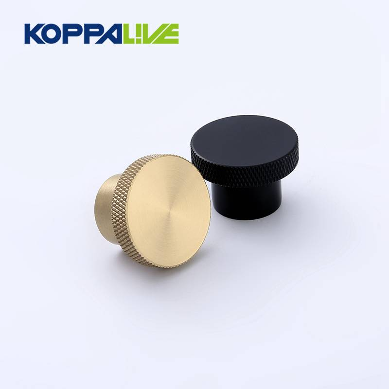 Hot Sale Pure Brass Furniture Knurling Round Gold Knobs for Bedroom Kitchen Hardware Knurled Knob