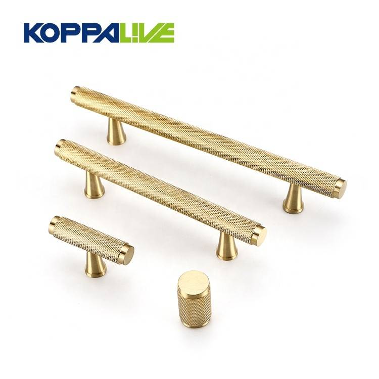 New Arrival China Furniture Barn Door Hardware - KOPPALIVE Copper T Bar Cupboard Straight Pull Handle Knobs Solid Brass Knurled Cabinet Door Handles – Zhangshiwujin