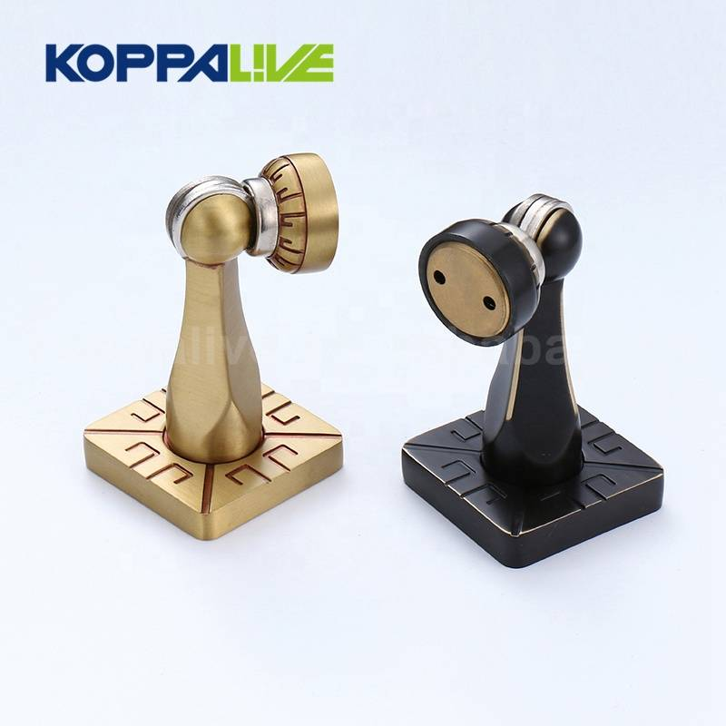 Reasonable price Sliding Door Rubber Stopper - Koppalive furniture hardware european retro wall and interior brass carved magnetic door stopper – Zhangshiwujin