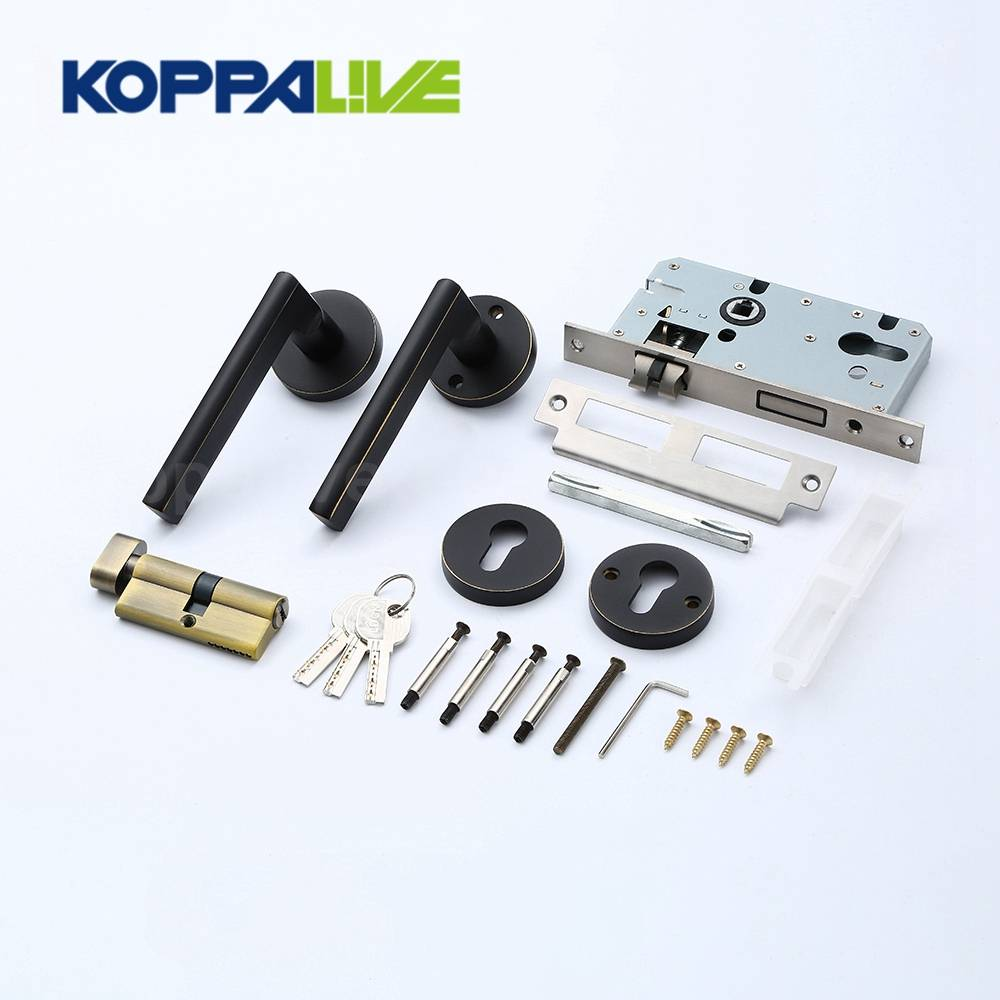 KOPPALIVE Custom Home Furniture Brass Lever Door Pull Handle Mortise Interior Lock Cylinder Lock Body