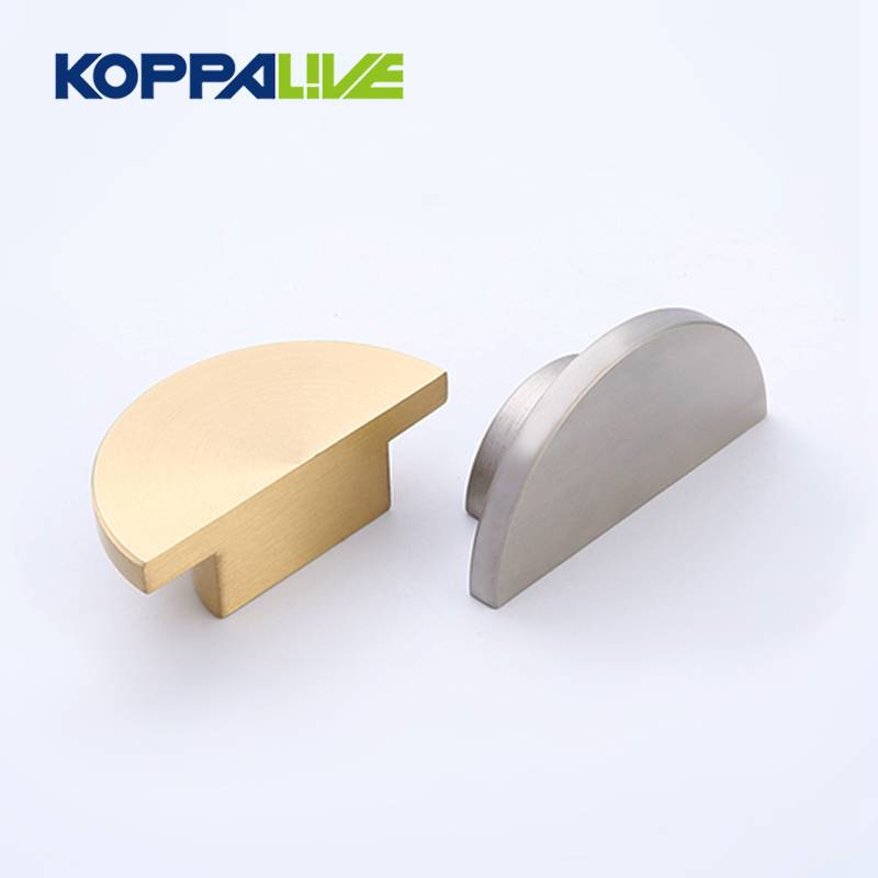 Koppalive Brass half moon wardrobe handles and knobs cabinet semi circle pull handles furniture hardware factory