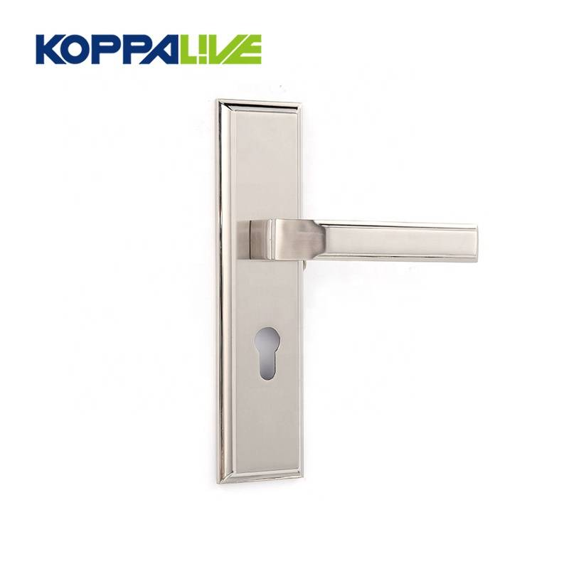 Safe high quality flat customized zinc alloy brushed plate door handle