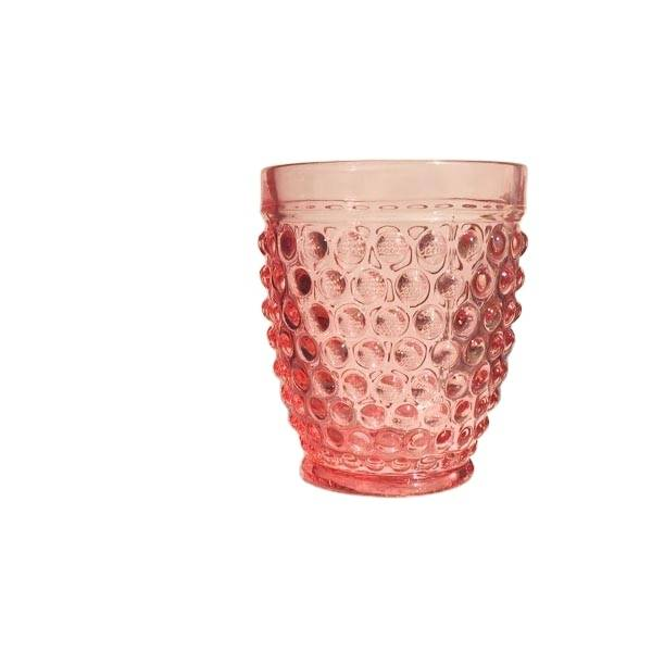 Top Suppliers Wine Glasses Luxury - LX handmade pressed bubble design pink blue coloured drinking glass tumbler – Langxu
