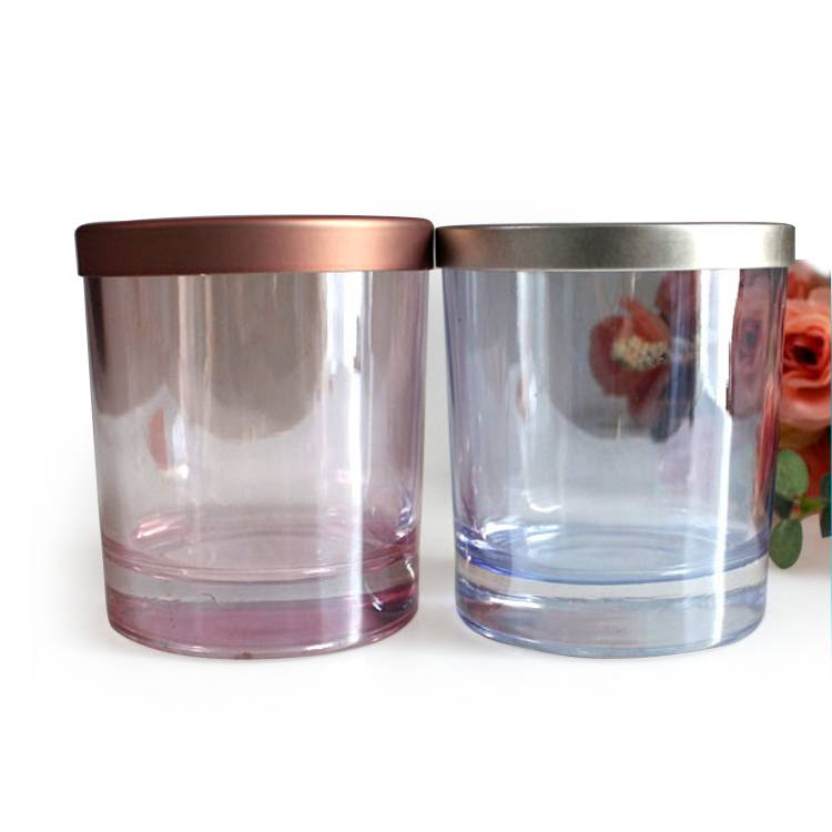 High quality marble glass candle container with lid