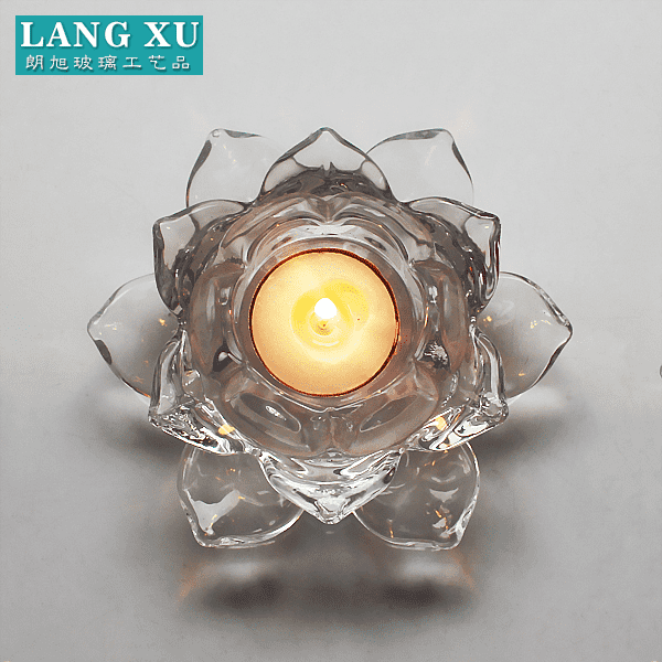 LXHY-KC-012 crystal clear  lotus flower pattern glass tealight candle holder