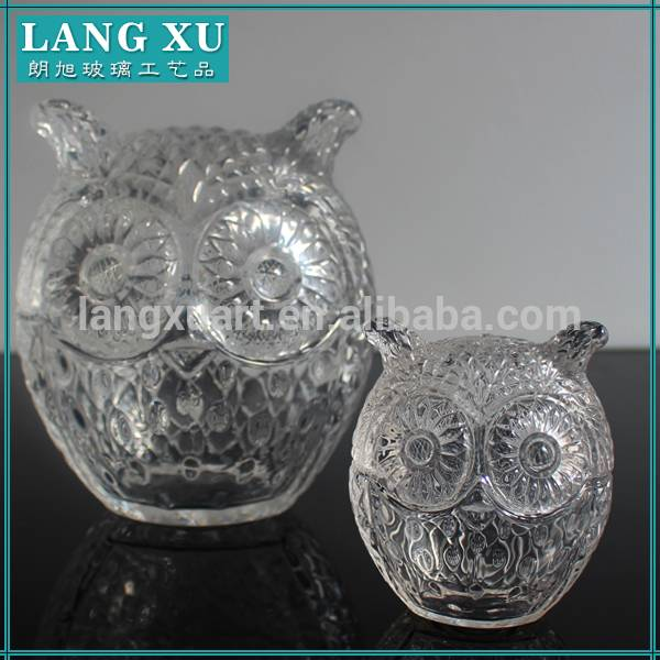 Cute two sizes animal-shaped owl shaped glass jar