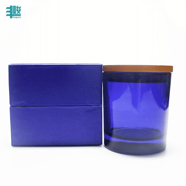 D8*H9cm blue colored glass candle jars transparent blue candle holders with wooden lid