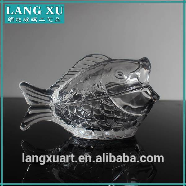 Short Lead Time for Long Stem Wine Glass - LX-T046 handmade crystal fish shape animal-shaped glass jar for cookie candy food storage – Langxu