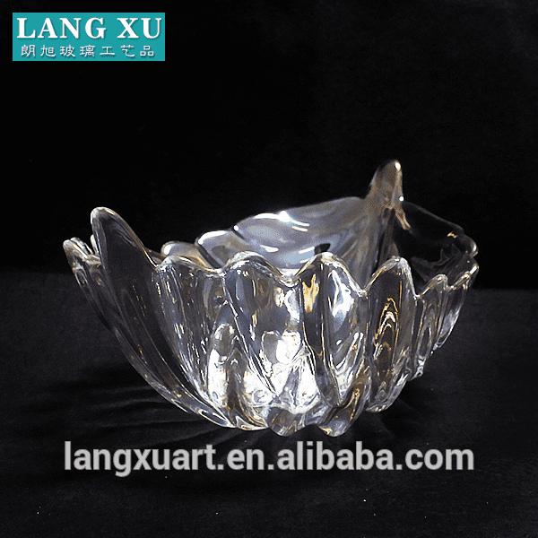 LXHY0975 leaf shape large glass bowls with color box