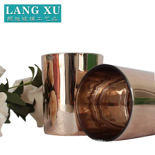 Factory made hot-sale Cylinder Glass Candle Holder - LX electro plating rose gold candle holder luxury glass candle jar candle making – Langxu