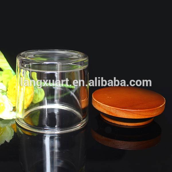 cheap clear glass jar with wooden lid