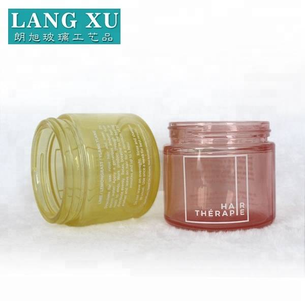 LXHY-B124 wholesale red and yellow colored glass cosmetic cream empty jar with customized logo