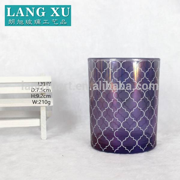 China wholesale Stemware Glassware - FYB7592 metallic rainbow color changing purple cylinder 5oz 7oz candle glass jars factory bulk wholesaler – Langxu