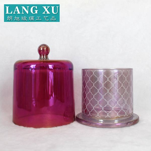 luxury customized ion plating glass cloche bell shape red transparent red candle jar with lid
