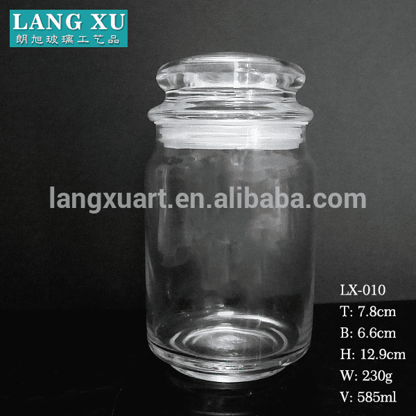 professional factory for Gold Rim Champagne Glass - LX010 high capacity transparent 580ml airtight glass jar with silicone for wax candle or food storage – Langxu