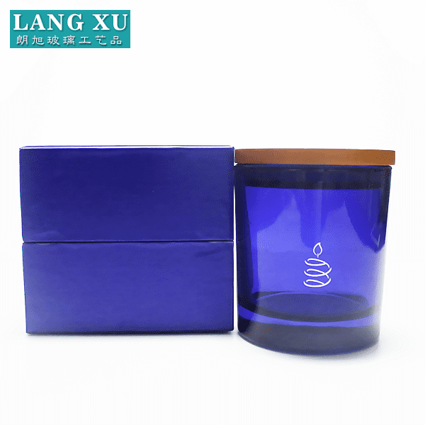 Decorative blue colored logo printing glass luxury candle jar with lid and color box