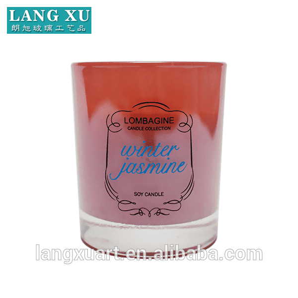 Cylinder luxury wholesale pink color glass candle jars with logo printing