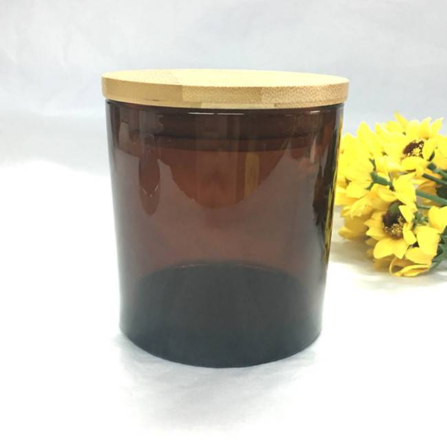 9oz cut color amber glass candle jar with wooden lid