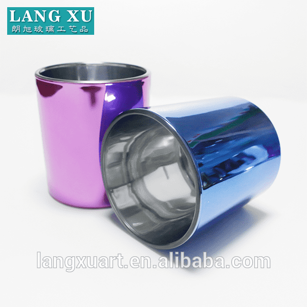 mirro effect electro plating blue purple color outside silver inside glass candle cup
