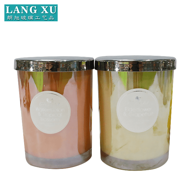 Trending Products Wine Glasses Goblet - Hot sale metal lid for candle jar and luxury plating colored glass candle jar with lid – Langxu
