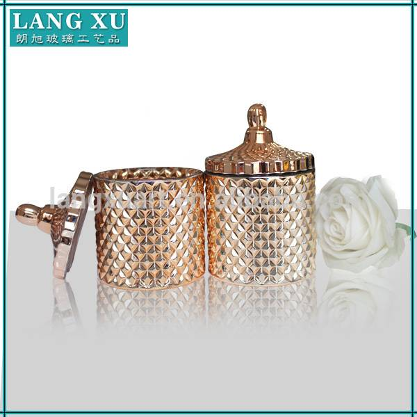 Wholesale Price China Decorate Glass Jars Candy - high quality geo cut rose gold diamond candle jar with glass lid – Langxu