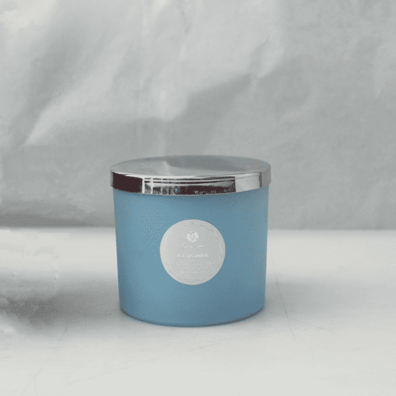 330 ml frosted blue glass candle holder with stainless steel lid