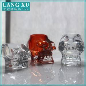 colored skull shape glass candle holder candle jars