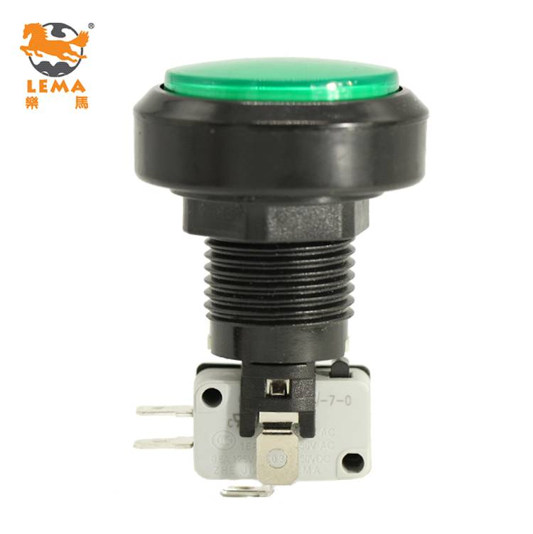 Lema PBS-004 green plastic push button switch 220v for arcade machine