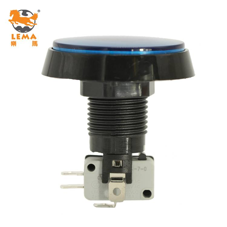 Lema PBS-005 round blue LED plastic push button micro switch for game machine
