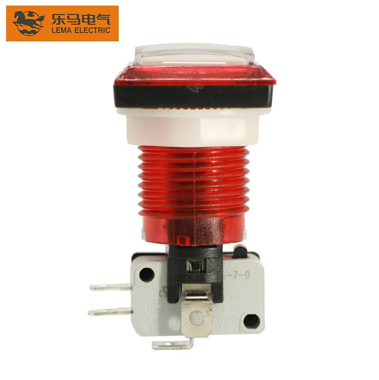 High quality game accessory Lema PBS-008 square red plastic led push button switch
