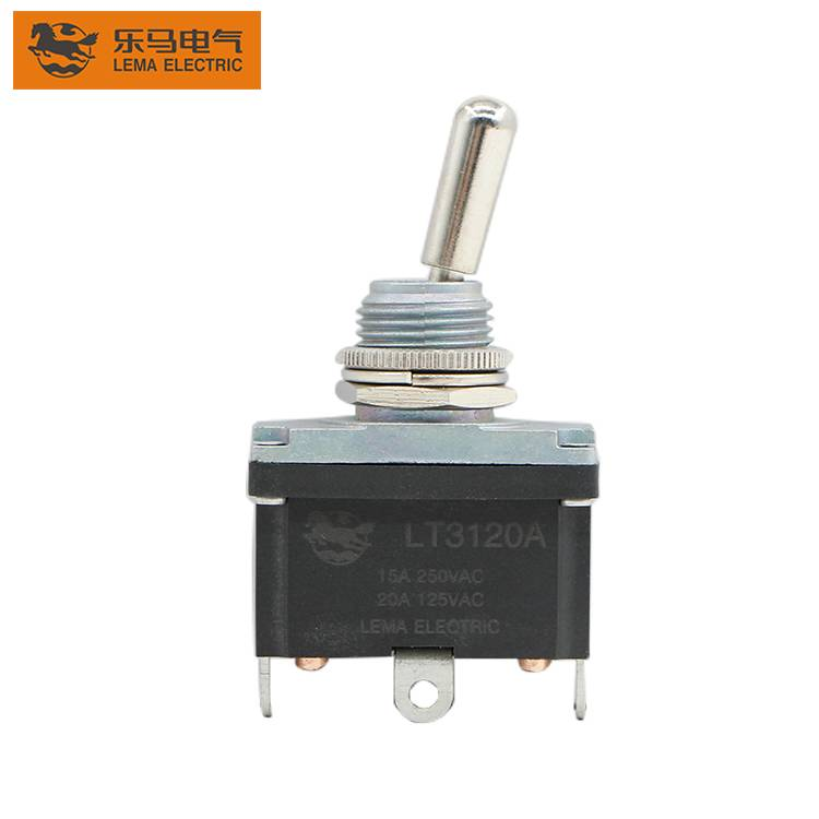 12MM  Locking 3 Position Toggle Switch 20A 250V DPDT ON-OFF