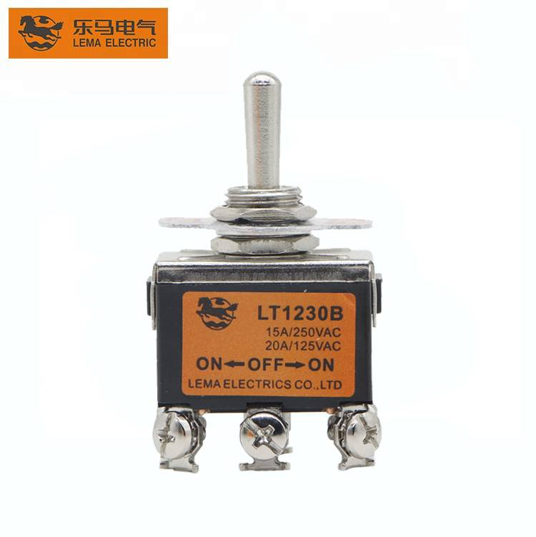 Lema LT1230B Double pole ON-OFF-ON toggle switch 15A for electrical equipment