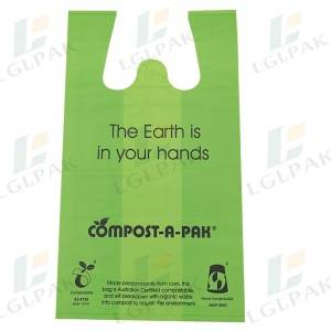 Wholesale ODM China Ecofriendly 100% Compostable Food Shopping Bag Corn Starch En13432