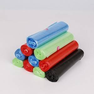 HDPE star-sealed trash bag on roll in multi colors.