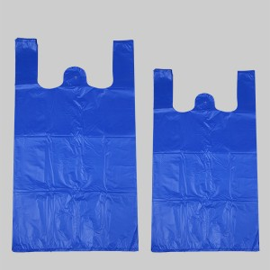 HDPE Blue T-Shirt Plastic Grocery Bag