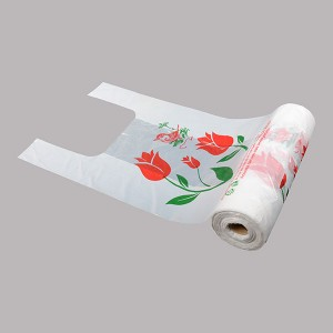 HDPE T-Shirt Supermarket Bag with Printing On Roll
