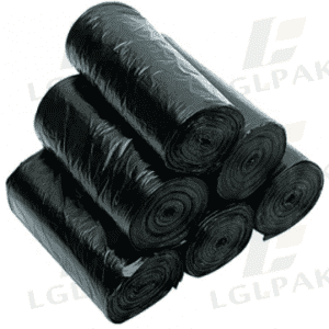 HDPE black trash bags on roll
