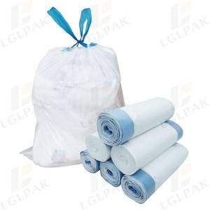 polythene white drawstring trash bags on roll