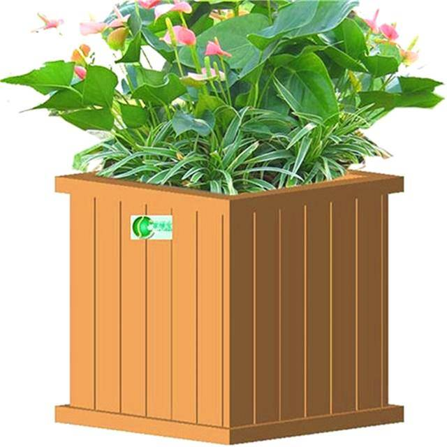 Waterproof Composite Wooden WPC Flower Pot For Garden Park