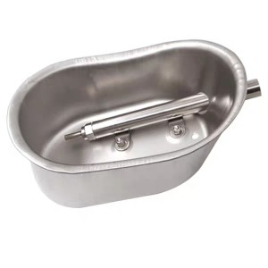 Oval Stainless Steel Pig Water Bowl