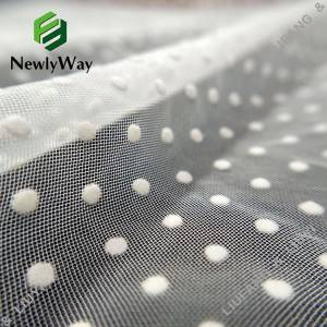 White nylon polka dot flocking  tulle fabric fo...