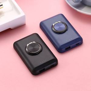 5000mAh Slim Magnetic Powerbank With Ring Holder 5W Fast Wireless Charger For iPhone Android Smart Phones