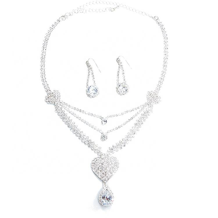 High quality fashion women heart 2019 popular designs rhinestone chain bead necklace