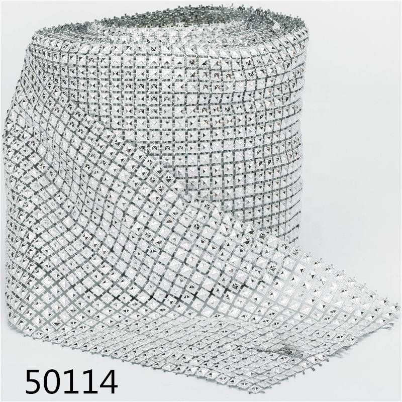 Crystal Rhinestones Trim Banding Bridal Beads Applique Plastic Crystal Mesh In Roll For Dress Jewelry