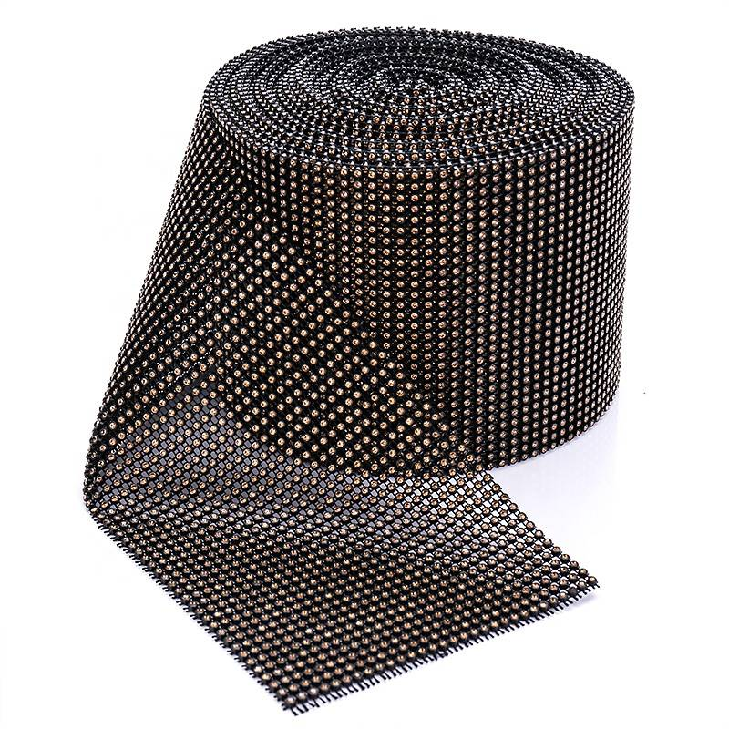 2020 wholesale price Rhinestone Mesh Ribbon - Popular Factory High Quality 24 Rows Rhinestone Mesh Chain With Gold Gems – Erjiao