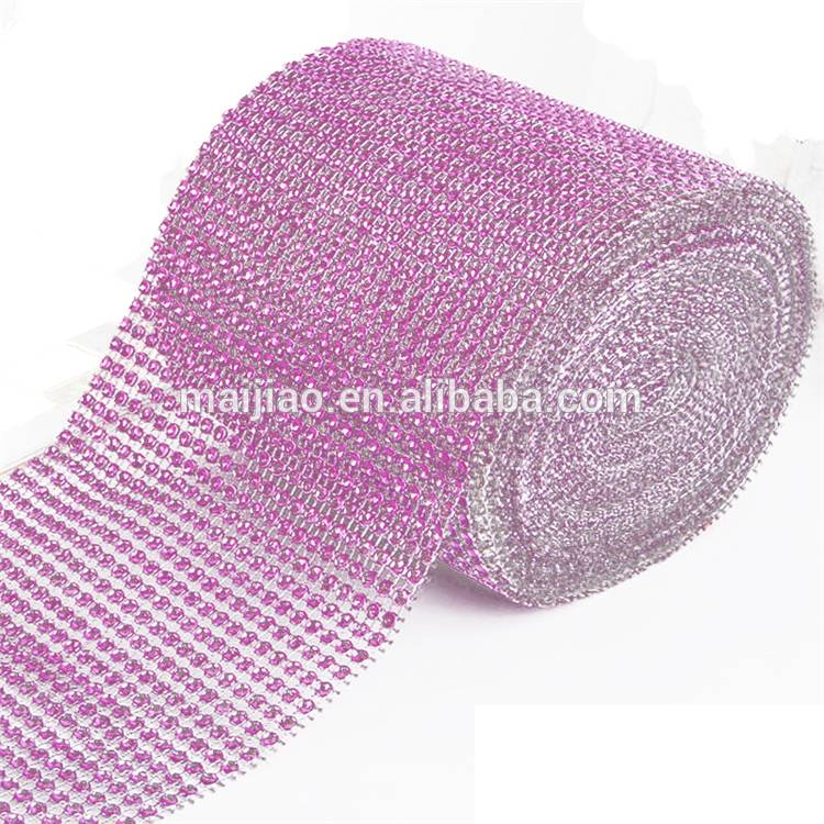 Hot Sale 24 rows Plastic Net Cup Chain Rhinestone Diamond Mesh With Low Price